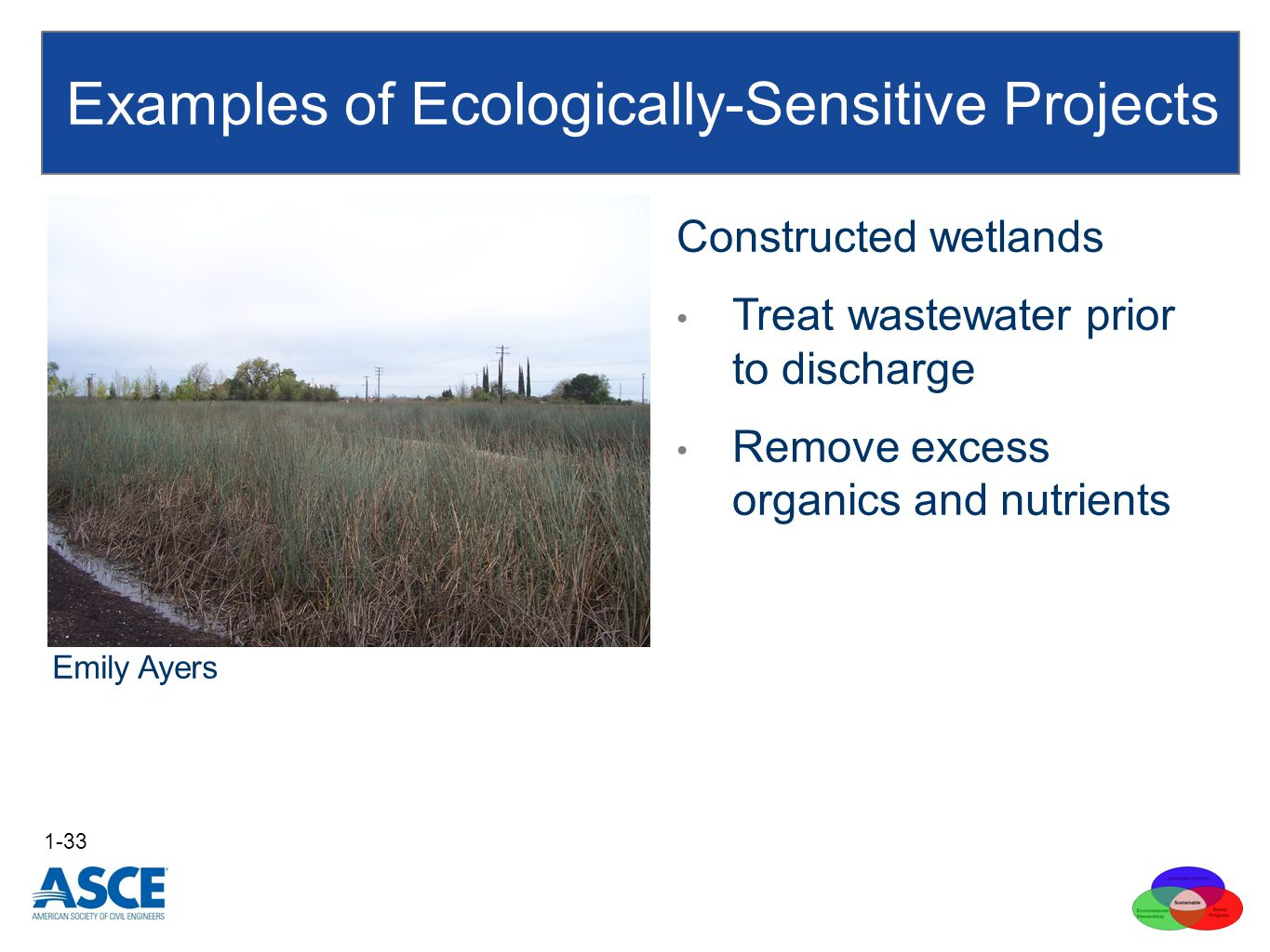 Examples of Ecologically-Sensitive Projects 1-33 Emily Ayers Constructed wetlands Treat wastewater prior to discharge Remove excess organics and nutrients