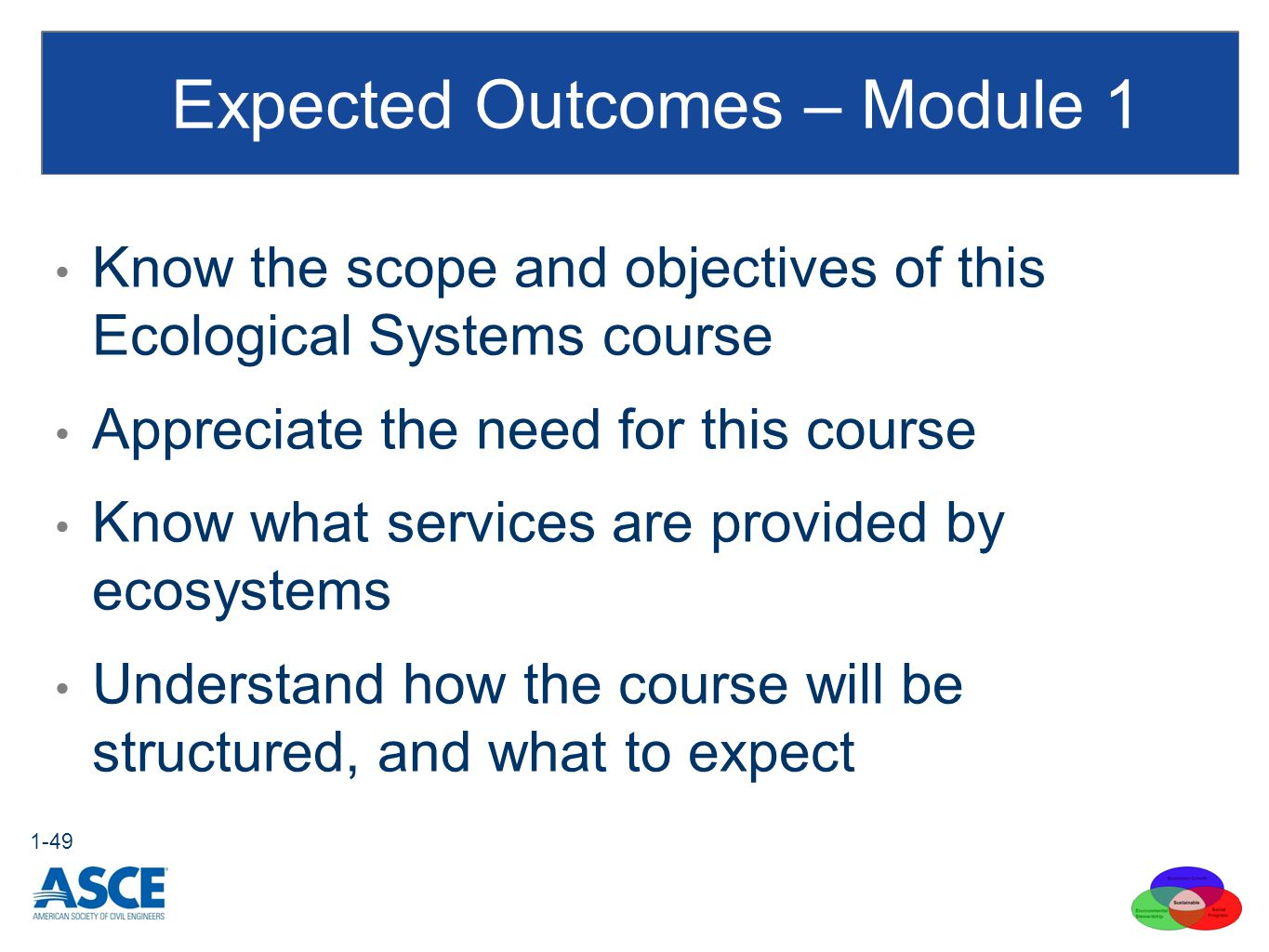 Expected Outcomes – Module 1 Know the scope and objectives of this Ecological Systems course Appreciate the need for this course Know what services are provided by ecosystems Understand how the course will be structured, and what to expect 1-49
