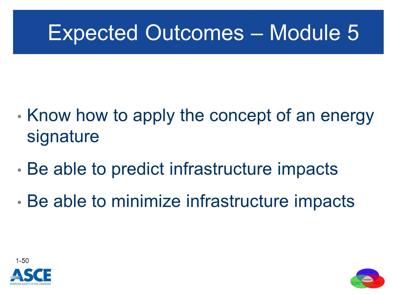 Expected Outcomes – Module 5 Know how to apply the concept of an energy signature Be able to predict infrastructure impacts Be able to minimize infrastructure impacts 1-50