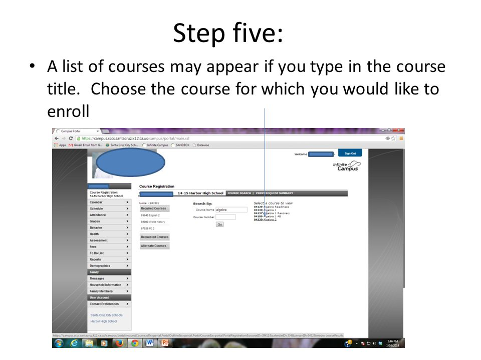 Step five: A list of courses may appear if you type in the course title.