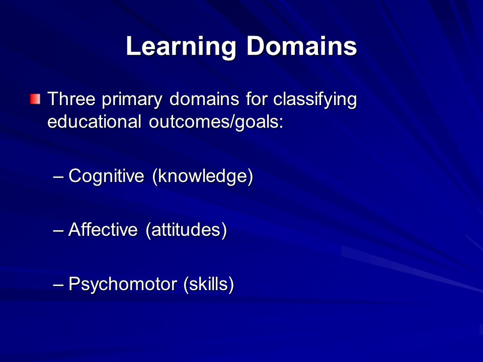 Learning Domains Three primary domains for classifying educational outcomes/goals: –Cognitive (knowledge) –Affective (attitudes) –Psychomotor (skills)