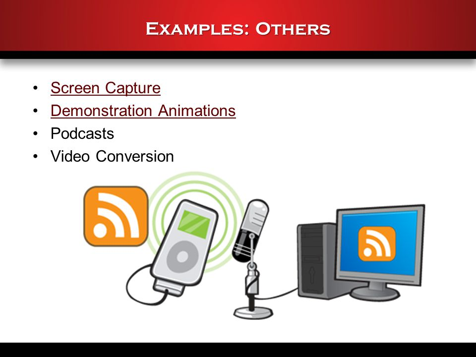 Examples: Others Screen Capture Demonstration Animations Podcasts Video Conversion
