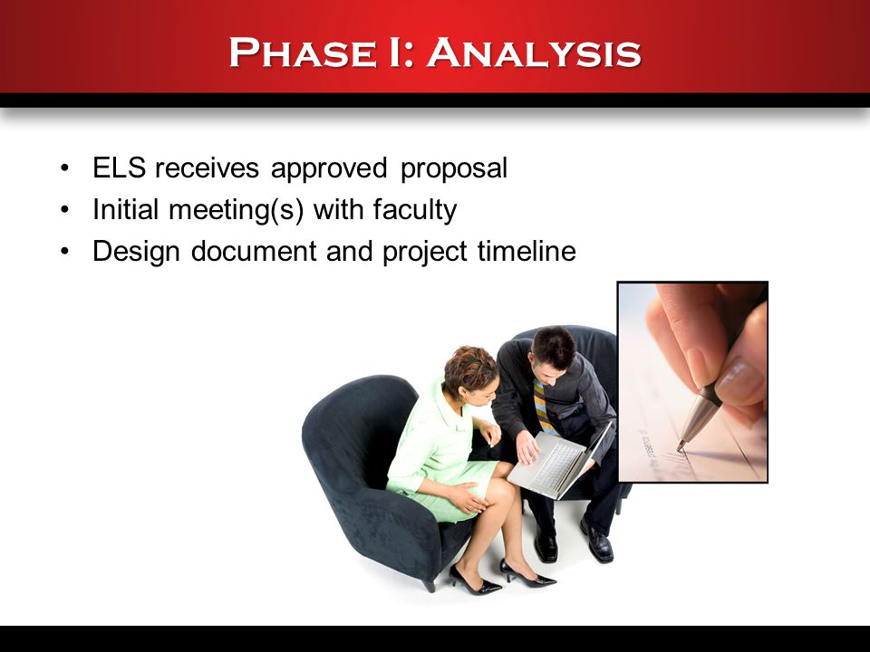 Phase I: Analysis ELS receives approved proposal Initial meeting(s) with faculty Design document and project timeline