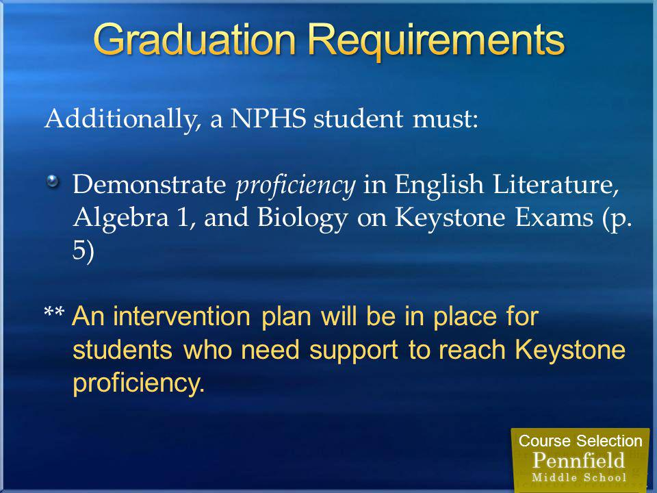 Additionally, a NPHS student must: Demonstrate proficiency in English Literature, Algebra 1, and Biology on Keystone Exams (p.