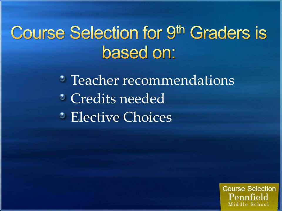 Teacher recommendations Credits needed Elective Choices Course Selection