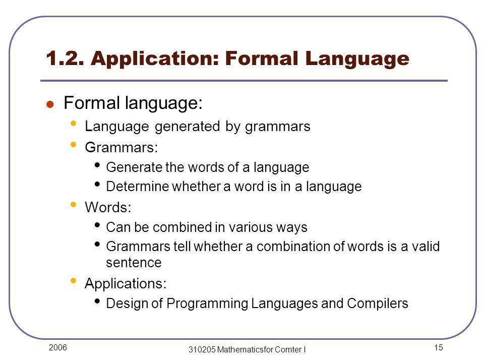 15 2006 310205 Mathematicsfor Comter I 1.2. Application: Formal Language Formal language: Language generated by grammars Grammars: Generate the words