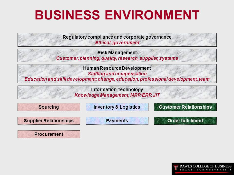 BUSINESS ENVIRONMENT Regulatory compliance and corporate governance Ethical, government Risk Management Customer, planning, quality, research, supplie