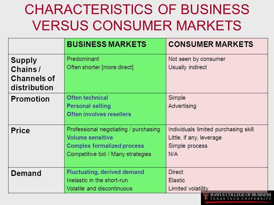 CHARACTERISTICS OF BUSINESS VERSUS CONSUMER MARKETS BUSINESS MARKETSCONSUMER MARKETS Supply Chains / Channels of distribution Predominant Often shorte