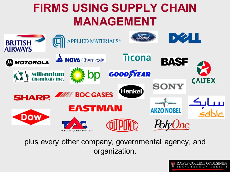 FIRMS USING SUPPLY CHAIN MANAGEMENT The Aromatics (Thailand) Public Co. Ltd. plus every other company, governmental agency, and organization.