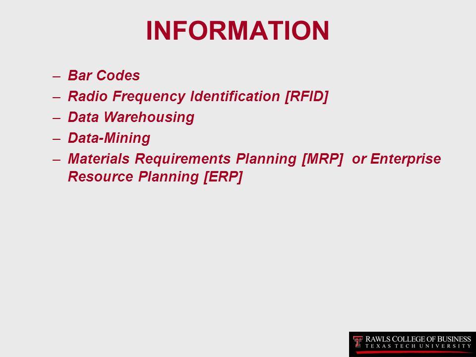 INFORMATION –Bar Codes –Radio Frequency Identification [RFID] –Data Warehousing –Data-Mining –Materials Requirements Planning [MRP] or Enterprise Reso
