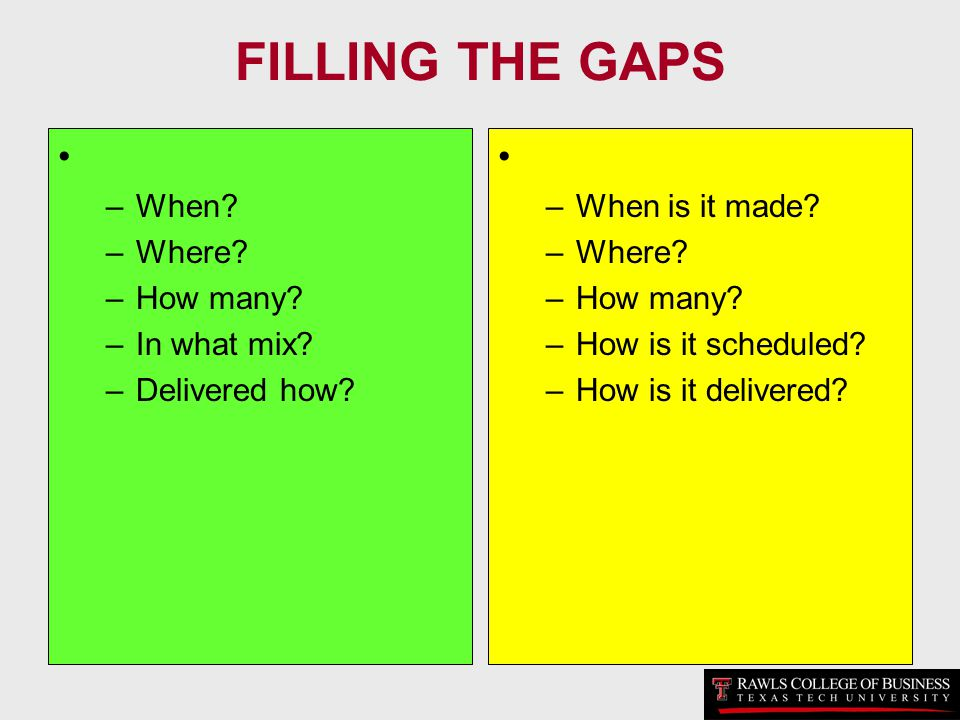 FILLING THE GAPS –When? –Where? –How many? –In what mix? –Delivered how? –When is it made? –Where? –How many? –How is it scheduled? –How is it deliver