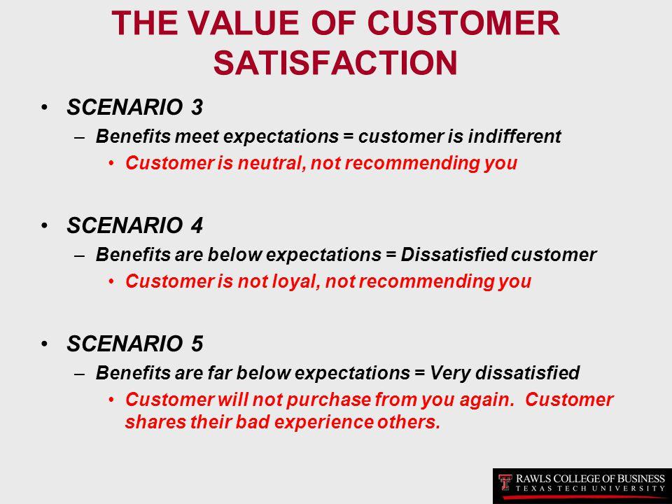 THE VALUE OF CUSTOMER SATISFACTION SCENARIO 3 –Benefits meet expectations = customer is indifferent Customer is neutral, not recommending you SCENARIO