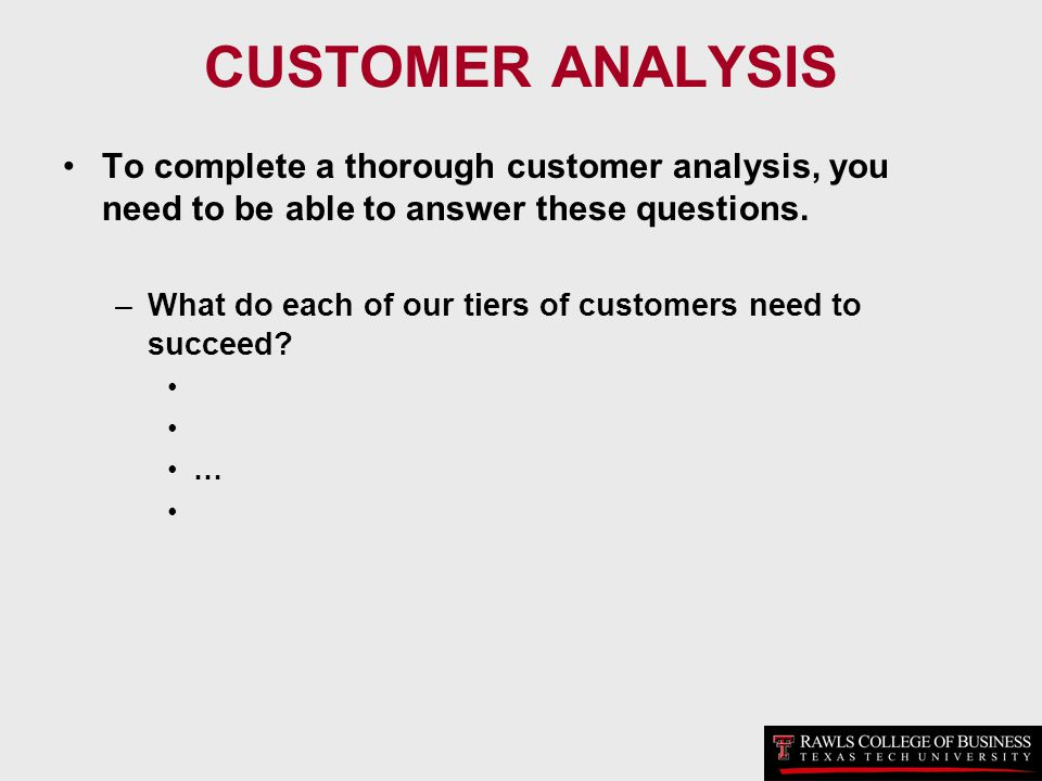 CUSTOMER ANALYSIS To complete a thorough customer analysis, you need to be able to answer these questions. –What do each of our tiers of customers nee