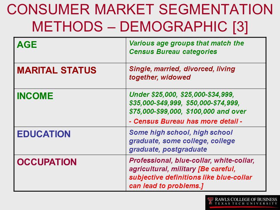 CONSUMER MARKET SEGMENTATION METHODS – DEMOGRAPHIC [3] AGE Various age groups that match the Census Bureau categories MARITAL STATUS Single, married,