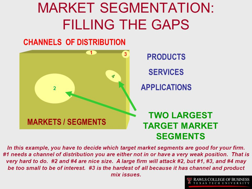 MARKET SEGMENTATION: FILLING THE GAPS 4 MARKETS / SEGMENTS CHANNELS OF DISTRIBUTION PRODUCTS SERVICES APPLICATIONS 2 4 1 TWO LARGEST TARGET MARKET SEG
