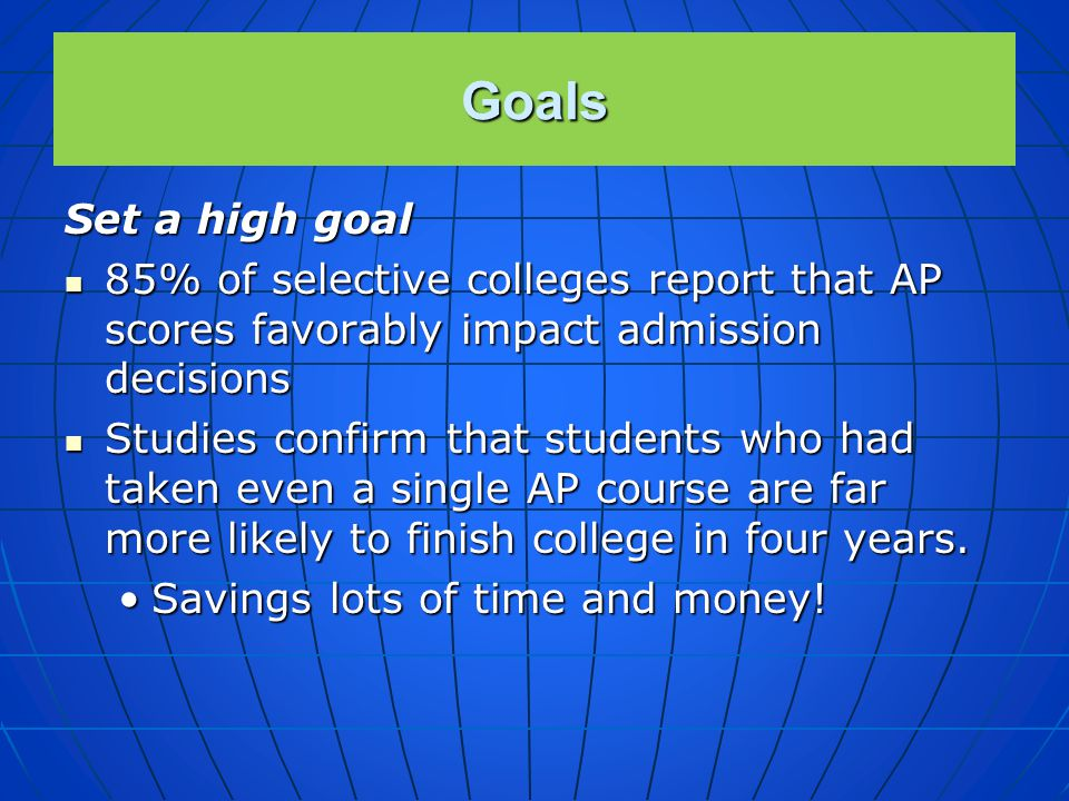 Goals Set a high goal Everyone here is a potential student in AP Biology – or any AP course! Everyone here is a potential student in AP Biology – or a