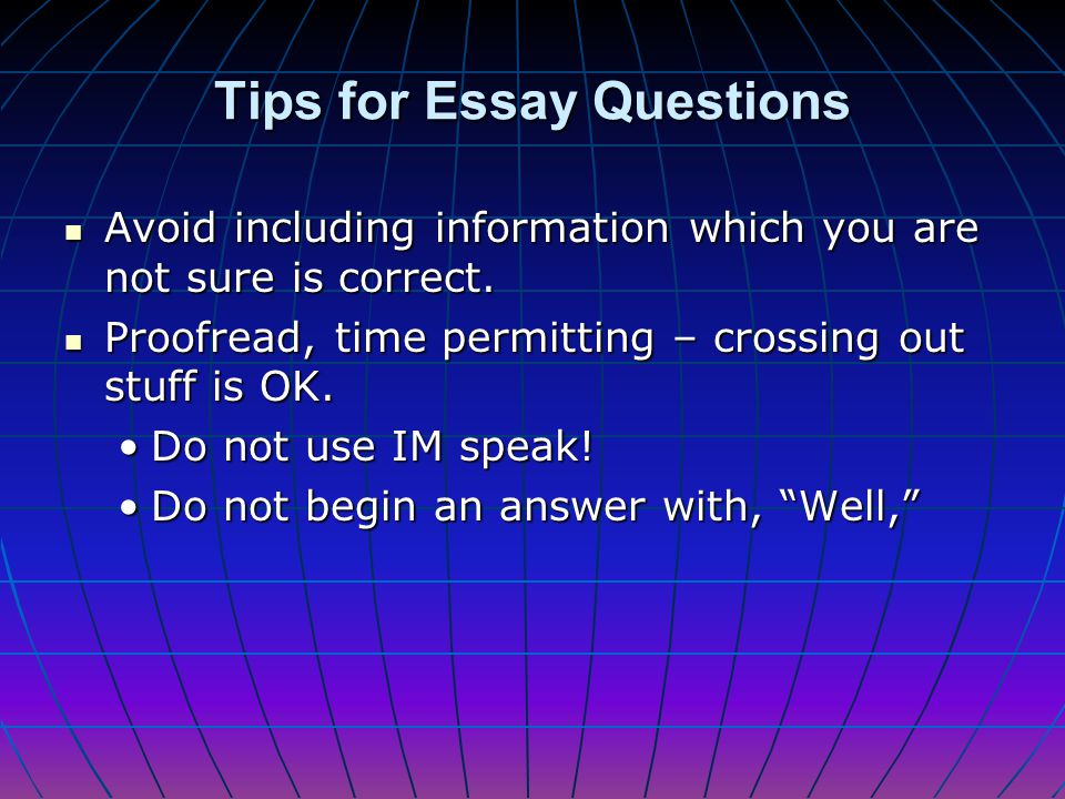Include an introductory statement that tells reader your thesis, but try not to simply restate the question. Include an introductory statement that te