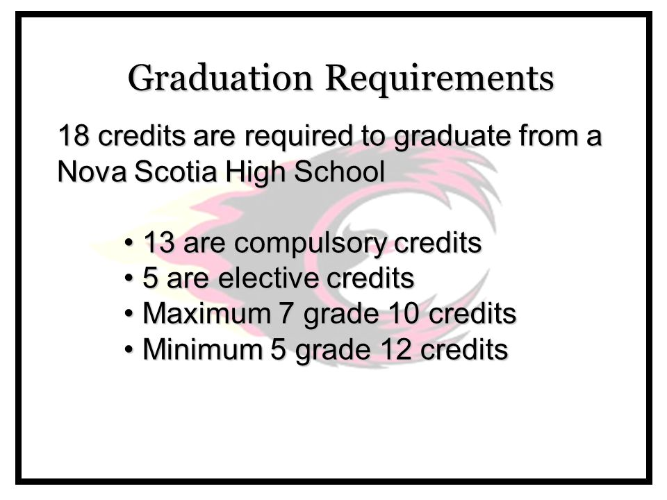 Graduation Requirements 18 credits are required to graduate from a Nova Scotia High School 13 are compulsory credits 13 are compulsory credits 5 are elective credits 5 are elective credits Maximum 7 grade 10 credits Maximum 7 grade 10 credits Minimum 5 grade 12 credits Minimum 5 grade 12 credits