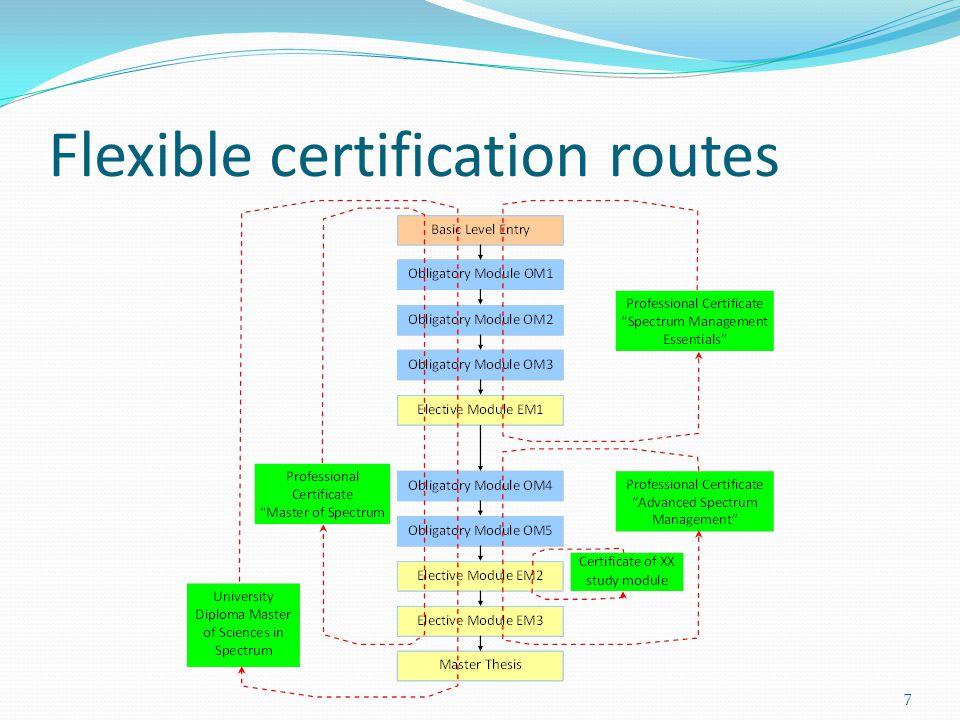 Flexible certification routes 7