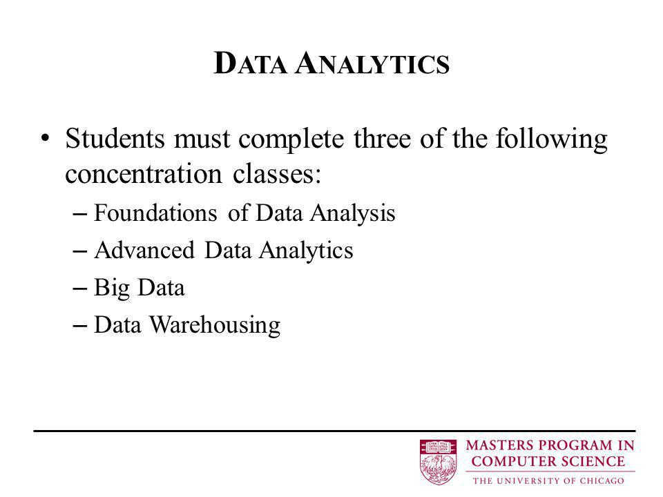 D ATA A NALYTICS Students must complete three of the following concentration classes: – Foundations of Data Analysis – Advanced Data Analytics – Big D