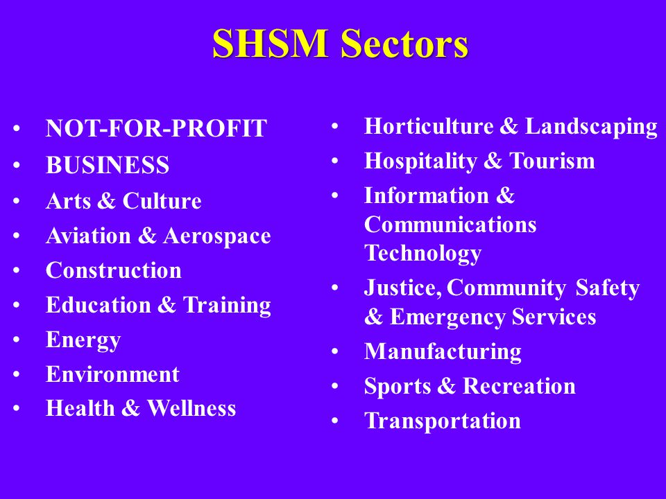 SHSM Sectors NOT-FOR-PROFIT BUSINESS Arts & Culture Aviation & Aerospace Construction Education & Training Energy Environment Health & Wellness Horticulture & Landscaping Hospitality & Tourism Information & Communications Technology Justice, Community Safety & Emergency Services Manufacturing Sports & Recreation Transportation