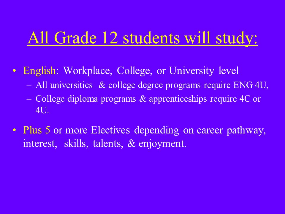 All Grade 12 students will study: English: Workplace, College, or University level –All universities & college degree programs require ENG 4U, –College diploma programs & apprenticeships require 4C or 4U.