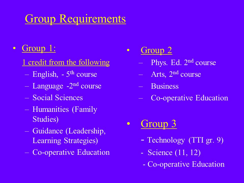 Group Requirements Group 1: 1 credit from the following –English, - 5 th course –Language -2 nd course –Social Sciences –Humanities (Family Studies) –Guidance (Leadership, Learning Strategies) –Co-operative Education Group 2 –Phys.
