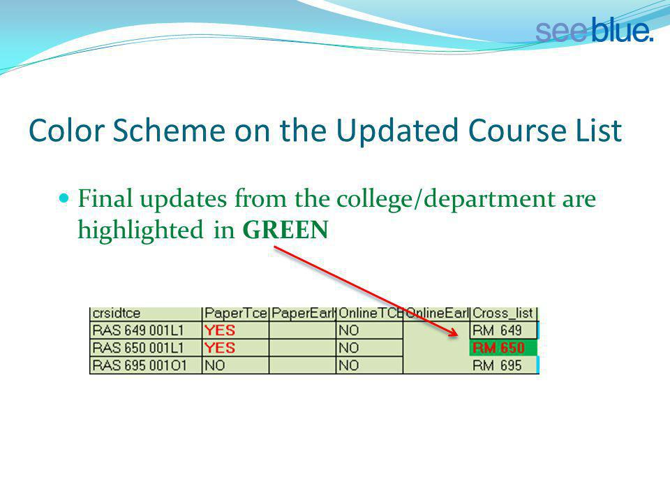 Color Scheme on the Updated Course List Final updates from the college/department are highlighted in GREEN