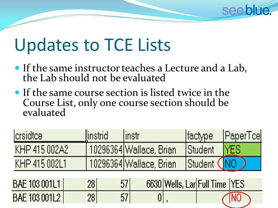 Updates to TCE Lists If the same instructor teaches a Lecture and a Lab, the Lab should not be evaluated If the same course section is listed twice in the Course List, only one course section should be evaluated