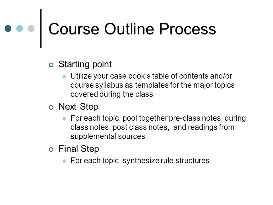 Course Outline Process Starting point Utilize your case books table of contents and/or course syllabus as templates for the major topics covered during the class Next Step For each topic, pool together pre-class notes, during class notes, post class notes, and readings from supplemental sources Final Step For each topic, synthesize rule structures