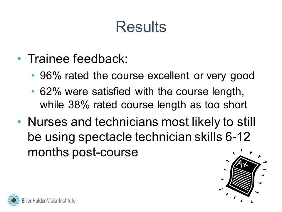 Results Trainee feedback: 96% rated the course excellent or very good 62% were satisfied with the course length, while 38% rated course length as too short Nurses and technicians most likely to still be using spectacle technician skills 6-12 months post-course