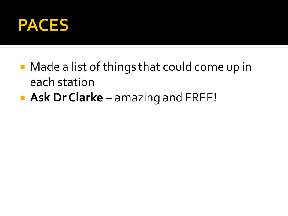 Made a list of things that could come up in each station Ask Dr Clarke – amazing and FREE!
