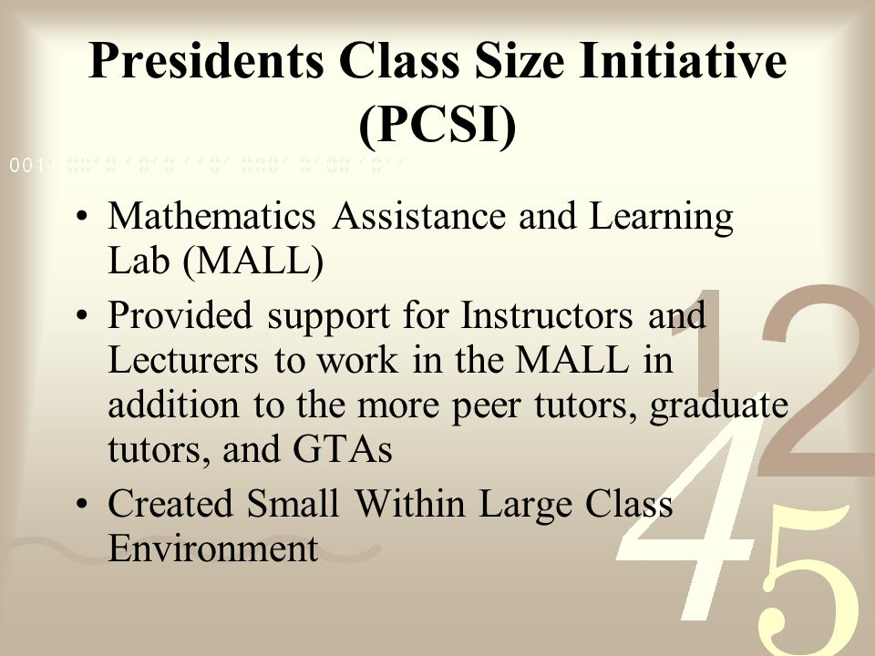 Presidents Class Size Initiative (PCSI) Mathematics Assistance and Learning Lab (MALL) Provided support for Instructors and Lecturers to work in the M