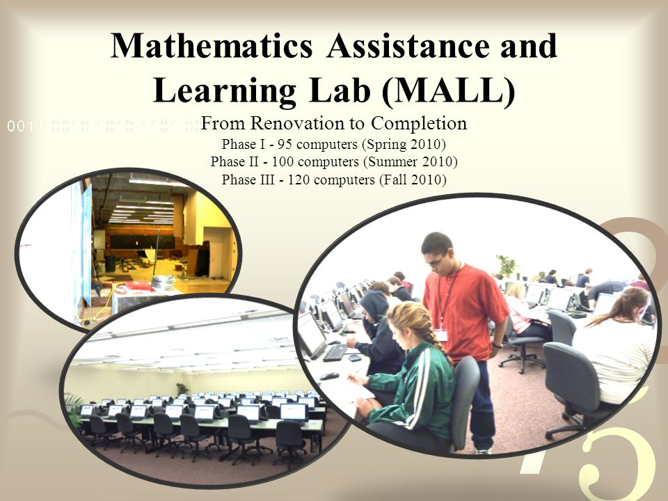 Mathematics Assistance and Learning Lab (MALL) From Renovation to Completion Phase I - 95 computers (Spring 2010) Phase II computers (Summer 2010) Phase III computers (Fall 2010)