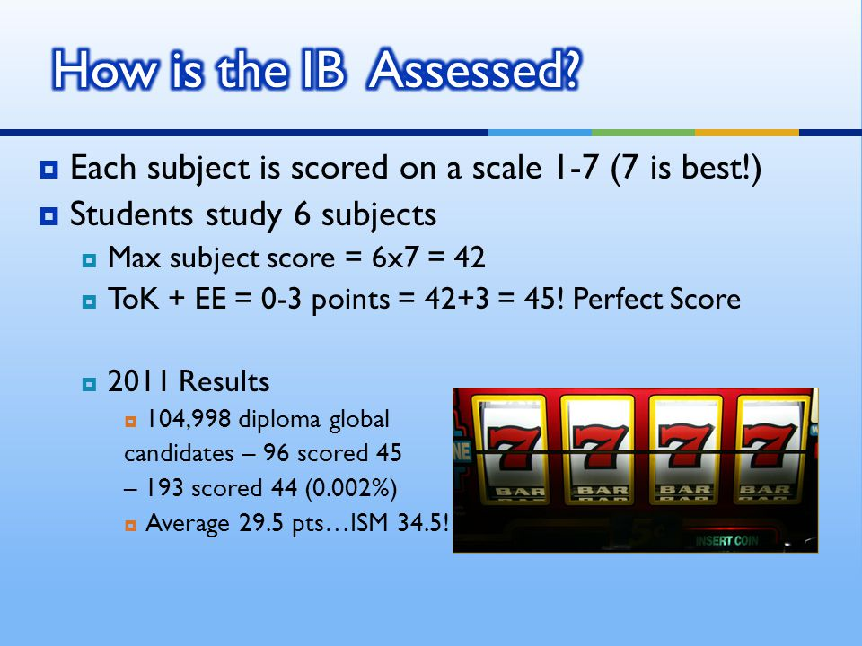 Each subject is scored on a scale 1-7 (7 is best!) Students study 6 subjects Max subject score = 6x7 = 42 ToK + EE = 0-3 points = 42+3 = 45.