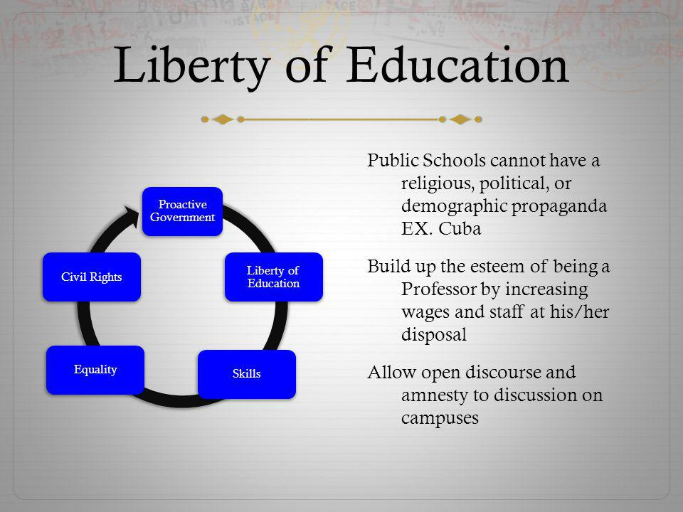 Liberty of Education Public Schools cannot have a religious, political, or demographic propaganda EX. Cuba Build up the esteem of being a Professor by