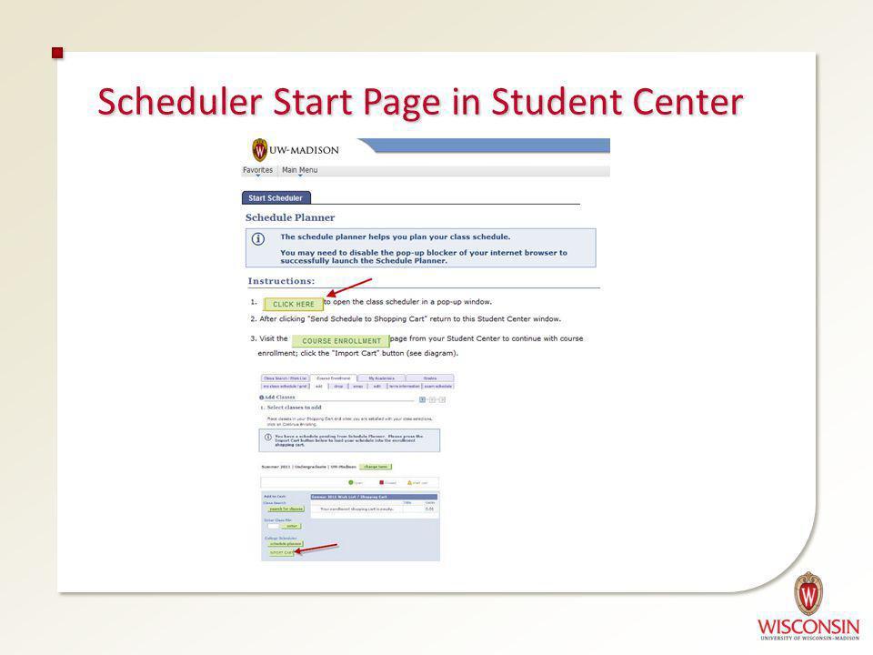 Scheduler Start Page in Student Center