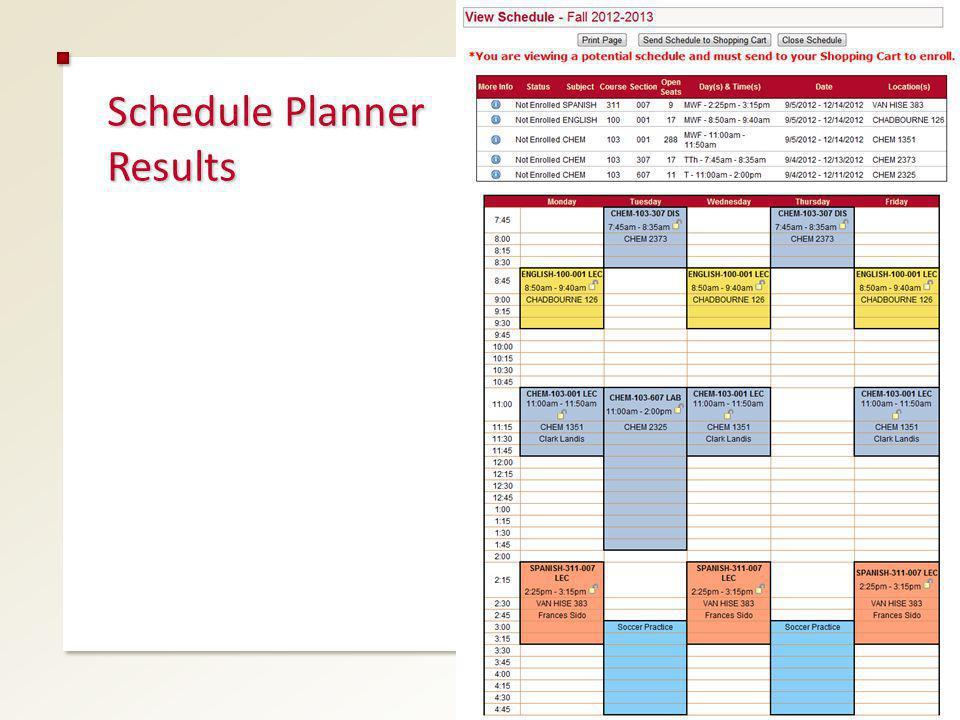 Schedule Planner Results