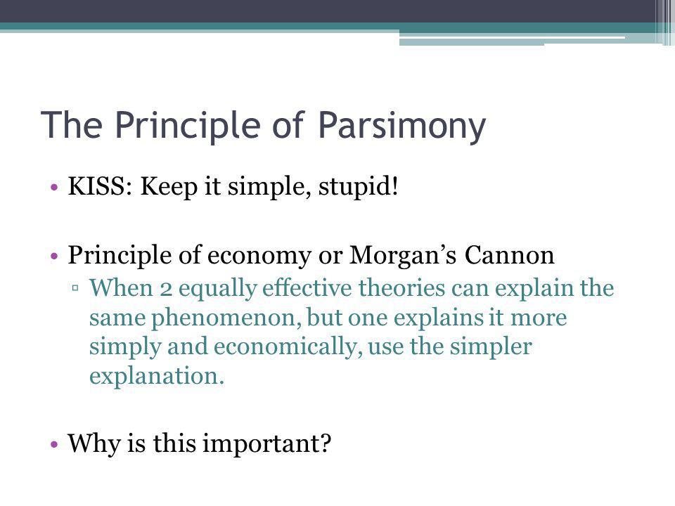 The Principle of Parsimony KISS: Keep it simple, stupid.