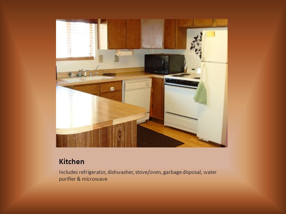 Kitchen Includes refrigerator, dishwasher, stove/oven, garbage disposal, water purifier & microwave
