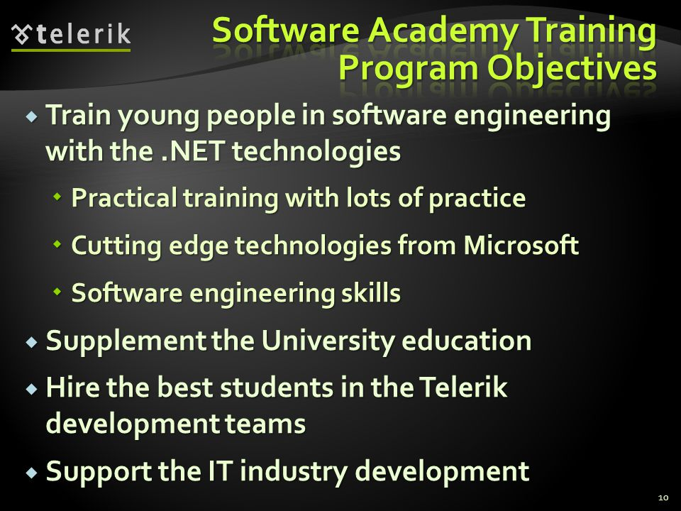 Train young people in software engineering with the.NET technologies Train young people in software engineering with the.NET technologies Practical tr