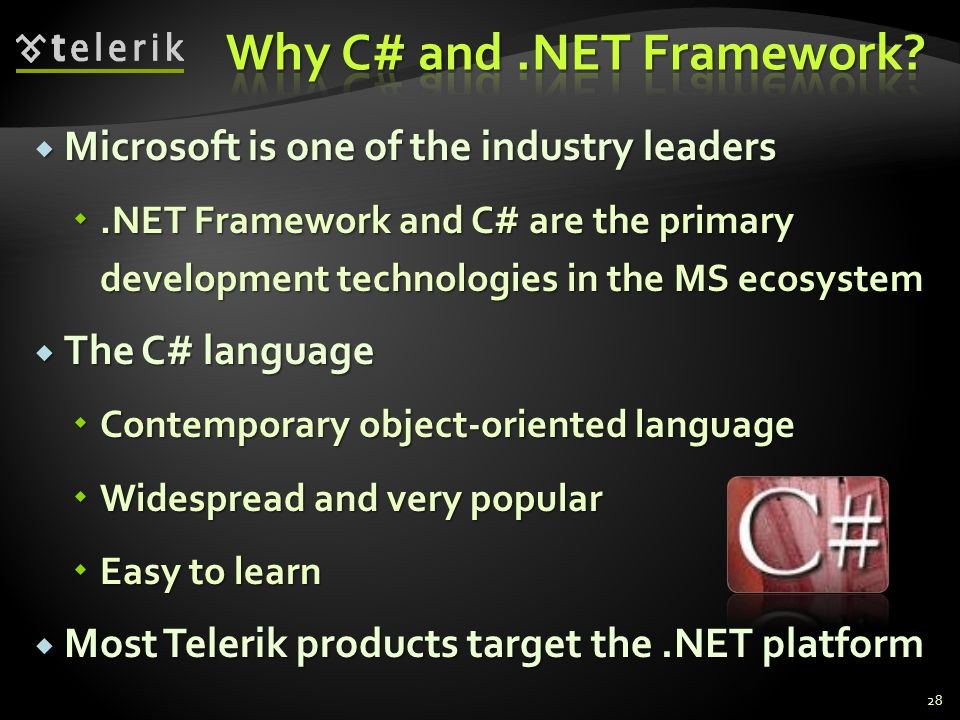 Microsoft is one of the industry leaders Microsoft is one of the industry leaders.NET Framework and C# are the primary development technologies in the