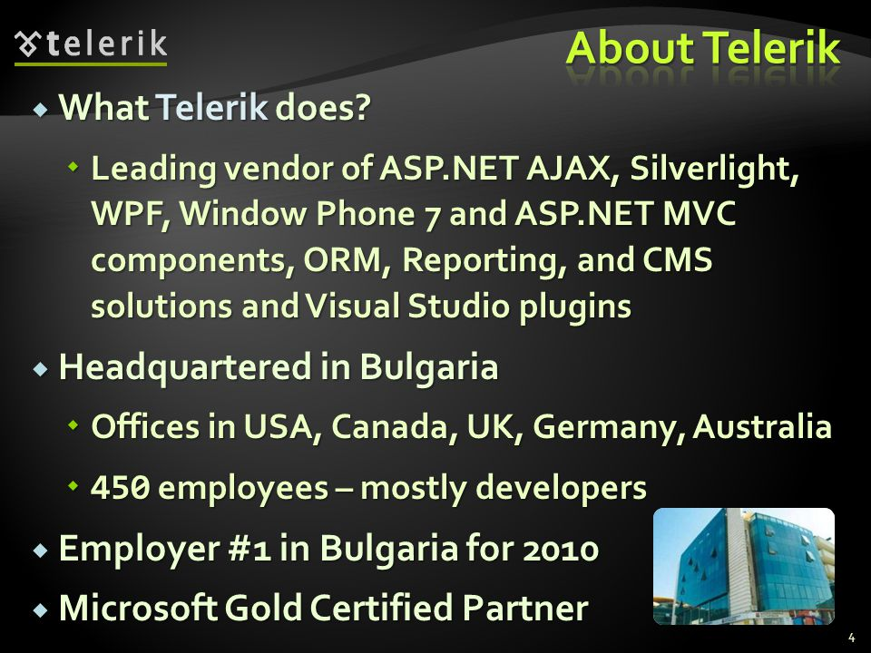 What Telerik does? What Telerik does? Leading vendor of ASP.NET AJAX, Silverlight, WPF, Window Phone 7 and ASP.NET MVC components, ORM, Reporting, and