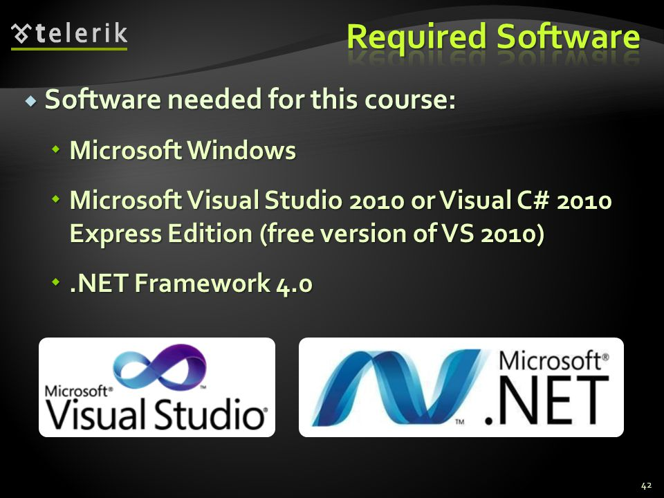 Software needed for this course: Software needed for this course: Microsoft Windows Microsoft Windows Microsoft Visual Studio 2010 or Visual C# 2010 E