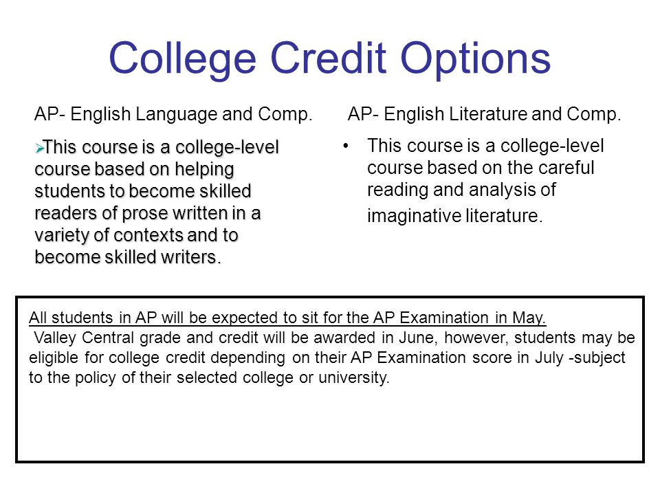 College Credit Options This course is a college-level course that emphasizes student practice in expository writing and library skills.
