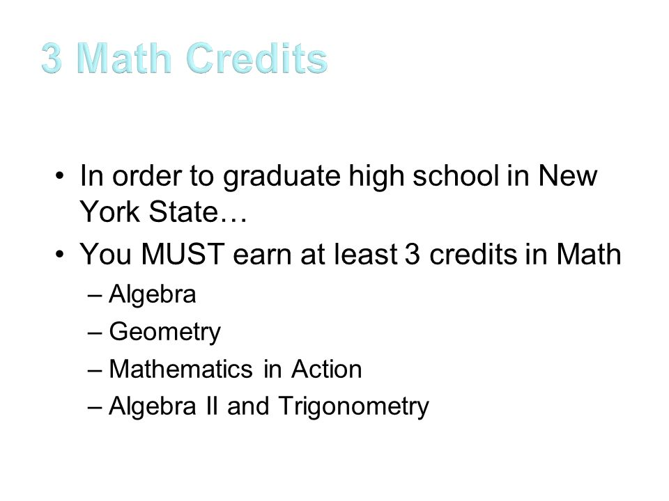In order to graduate high school in New York State… You MUST earn at least 3 credits in Math –Algebra –Geometry –Mathematics in Action –Algebra II and