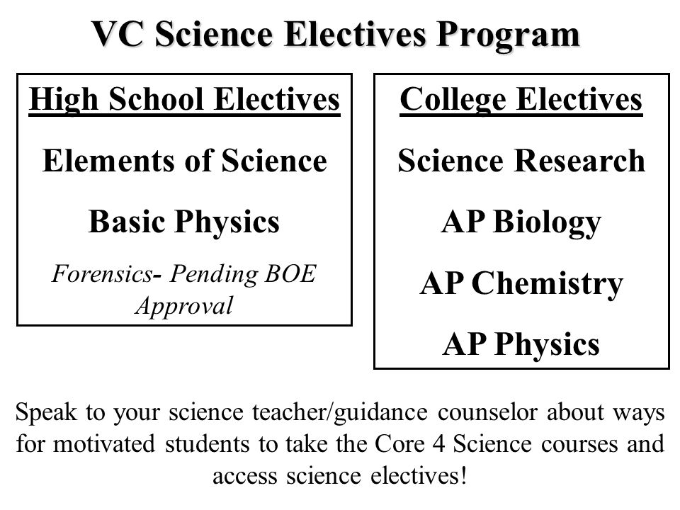 Elements of Science 1.Alternative to Regents Chemistry 2.Basic concepts of chemistry and physics 3.No scheduled lab period (labs incorporated in class) 4.Fulfills NYS mandated 3rd credit of science VC Science Electives