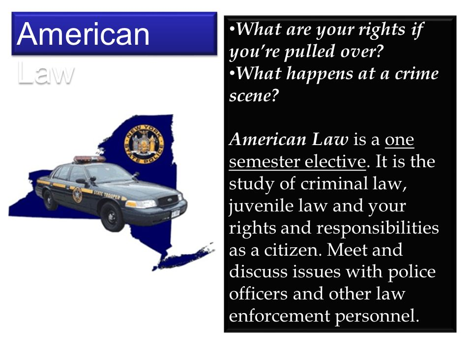 What are your rights if youre pulled over? What happens at a crime scene? American Law is a one semester elective. It is the study of criminal law, ju