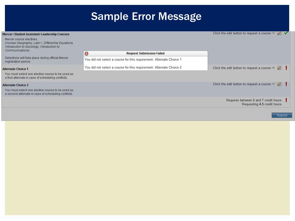 Sample Error Message