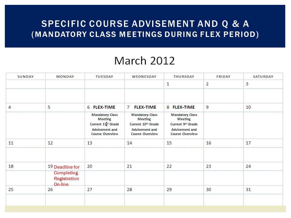 SPECIFIC COURSE ADVISEMENT AND Q & A (MANDATORY CLASS MEETINGS DURING FLEX PERIOD) Deadline for Completing Registration On-line